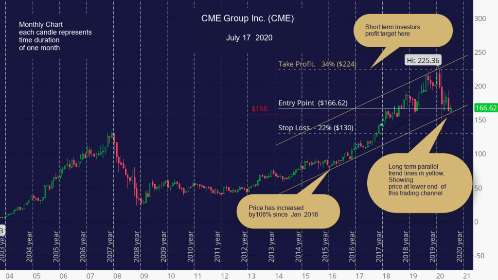 CME Group Inc. (CME) Monthly chart